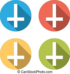Collection of 4 isolated flat buttons (icons) with Cross of Sain
