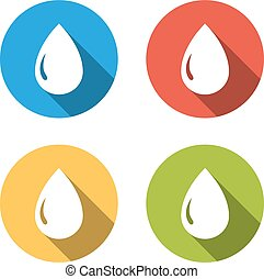 Collection of 4 isolated flat buttons for drop of water, oil, gas, petrol