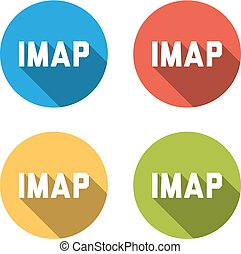 Collection of 4 isolated flat buttons for IMAP (Internet Message Access Protocol)