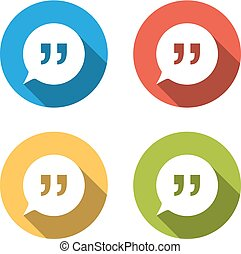 Collection of 4 isolated flat buttons for speech bubbles with quotes