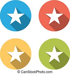 Collection of 4 isolated flat buttons for star (favorite, success, bookmark)