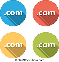 Collection of 4 isolated flat buttons (icons) for .com domain