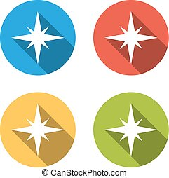 Collection of 4 isolated flat buttons (icons) for compass