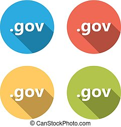 Collection of 4 isolated flat buttons (icons) for .gov domain