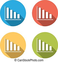 Collection of 4 isolated flat buttons (icons) for graph