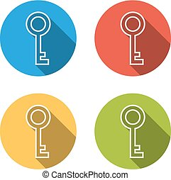 Collection of 4 isolated flat buttons (icons) for key