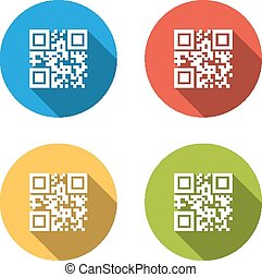 Collection of 4 isolated flat buttons (icons) for qrcode