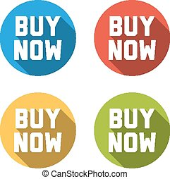 Collection of 4 isolated flat colorful buttons for buy now