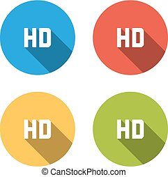 Collection of 4 isolated flat colorful buttons for HD sign