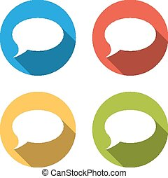 Collection of 4 isolated flat colorful buttons for speech bubble