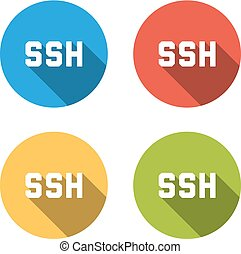 Collection of 4 isolated flat colorful buttons for SSH (Secure Shell)