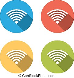 Collection of 4 isolated flat colorful buttons for wifi (wireles