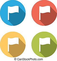 Collection of 4 isolated flat colorful buttons (icons) for wavin