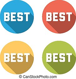 Collection of 4 isolated flat colorful buttons (icons) with BEST
