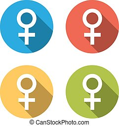 Collection of 4 isolated flat colorful buttons (icons) for femal