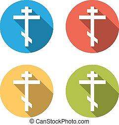 Collection of 4 isolated flat l buttons (icons) for orthodox cro