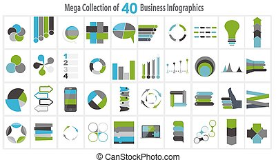 Collection of 40 Infographic Templates for Business Vector Illustration