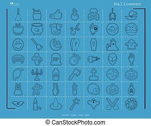 Collection of 49 halloween icons. Vector illustration in thin line style