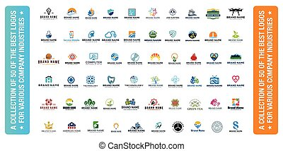 collection of 50 best logos for various industries Company vector