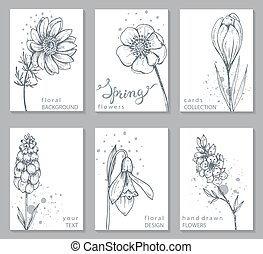 Collection of 6 cards with hand drawn spring flowers. Vector...