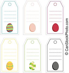 Collection of 6 colorful tags with