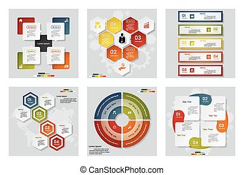 Collection of 6 design templates.