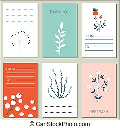 Collection of 6 flat design greeting cards