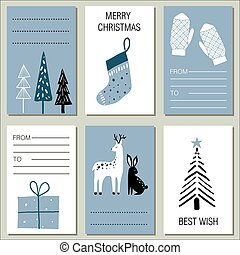 Collection of 6 flat design winter greeting cards