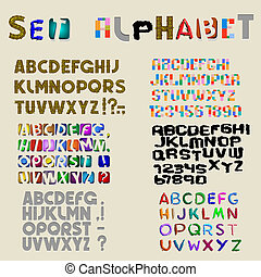 Collection of 6 sets of latin alphabet