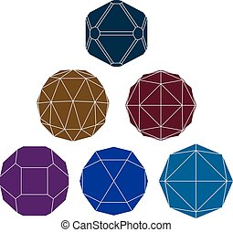 Collection of 6 single color complex dimensional spheres and abstract geometric figures with white outline. Fractal 3D symbolic objects.