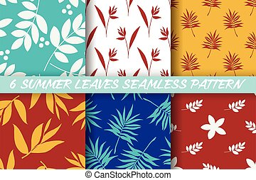 Collection of 6 Summer leaves seamless pattern.