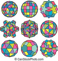 Collection of 9 complex dimensional spheres and abstract geometric figures with black outline. Colorful kaleidoscope facet. Fractal 3D symbolic globes.