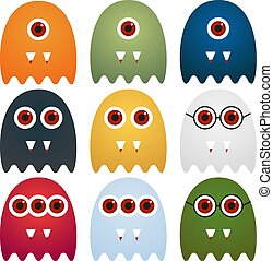 Collection of 9 cute monsters with different look, isolated on white
