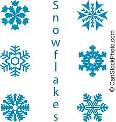 Collection of 9 snowflakes. Decoration for the new year, on a white background