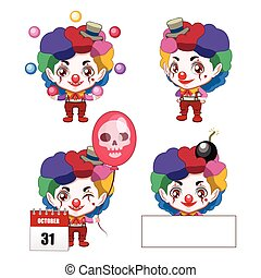 Collection of a cute little evil clown