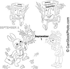 Collection of a silhouette on September 1, a cartoon on a white background.