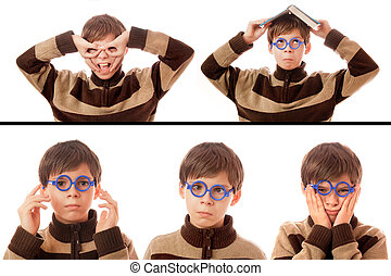 Collection of a young boy on a white background