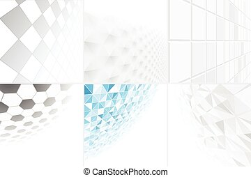Collection of abstract backgrounds with perspective.