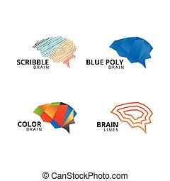 Collection of abstract brain logo template