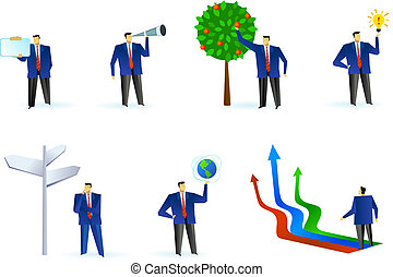 Collection of abstract business people logos