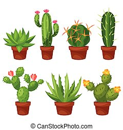 Collection of abstract cactuses in flower pot.