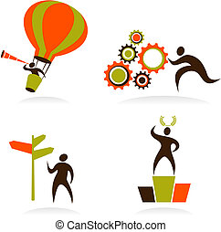Collection of abstract people logos - 1