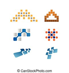 Collection of abstract pixel logo template