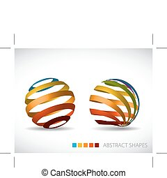 Collection of abstract spheres made from colorful stripes