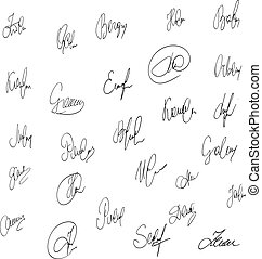 Collection of abstract vector signatures fictitious Autograph.