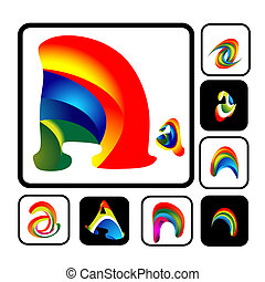 Collection of abstract Vector vibrant Alphabet letter A logo, this can be also used as symbol, icon, tattoo, logo of business
