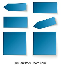 Collection of adhesive notes blue