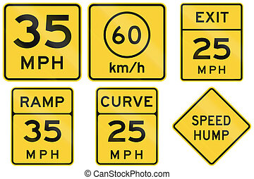 Collection of advisory speed signs used in the USA.