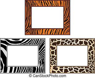 collection of African framework, tiger, zebra and giraffe
