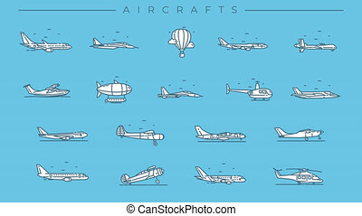 Collection of Aircraft line icons on the alpha channel. Icons have an animation appearing from 0 to 2 seconds and loops from 2 to 6 seconds.